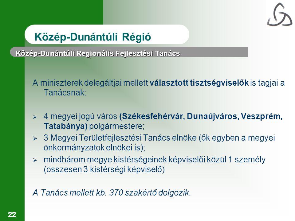 22 Közép-Dunántúli Regionális Fejlesztési Tanács A miniszterek delegáltjai mellett választott tisztségviselők is tagjai a Tanácsnak:  4 megyei jogú város (Székesfehérvár, Dunaújváros, Veszprém, Tatabánya) polgármestere;  3 Megyei Területfejlesztési Tanács elnöke (ők egyben a megyei önkormányzatok elnökei is);  mindhárom megye kistérségeinek képviselői közül 1 személy (összesen 3 kistérségi képviselő) A Tanács mellett kb.