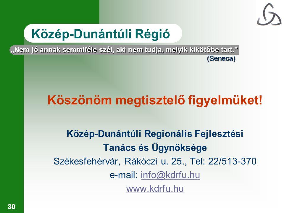 30 Közép-Dunántúli Régió Köszönöm megtisztelő figyelmüket.