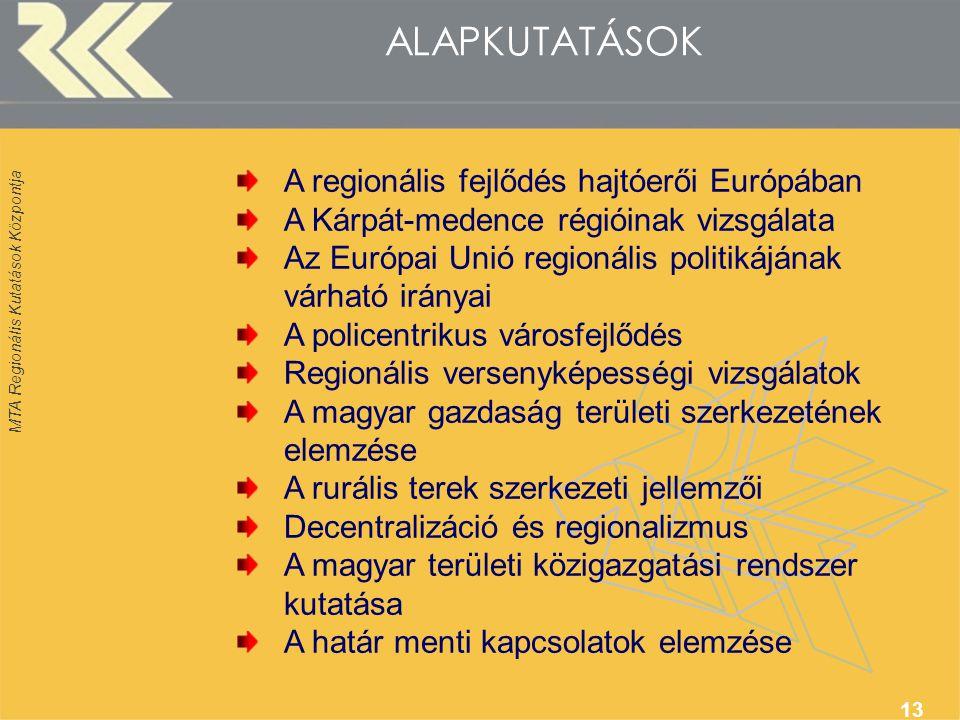 MTA Regionális Kutatások Központja 13 ALAPKUTATÁSOK A regionális fejlődés hajtóerői Európában A Kárpát-medence régióinak vizsgálata Az Európai Unió regionális politikájának várható irányai A policentrikus városfejlődés Regionális versenyképességi vizsgálatok A magyar gazdaság területi szerkezetének elemzése A rurális terek szerkezeti jellemzői Decentralizáció és regionalizmus A magyar területi közigazgatási rendszer kutatása A határ menti kapcsolatok elemzése