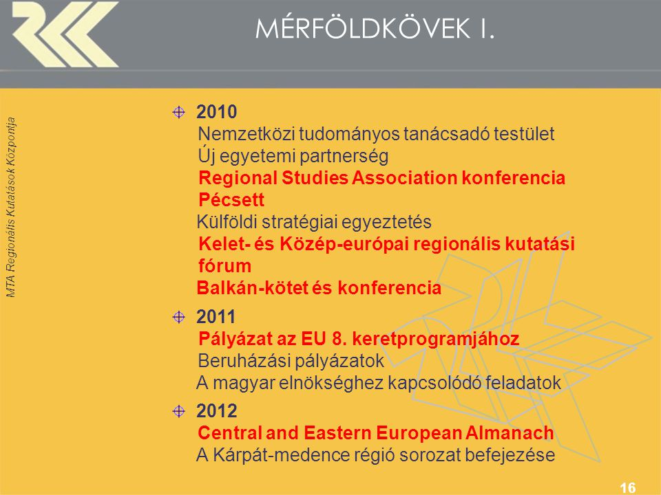 MTA Regionális Kutatások Központja 16 MÉRFÖLDKÖVEK I.