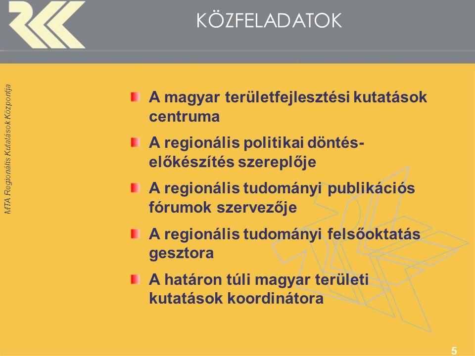 MTA Regionális Kutatások Központja 5 KÖZFELADATOK A magyar területfejlesztési kutatások centruma A regionális politikai döntés- előkészítés szereplője A regionális tudományi publikációs fórumok szervezője A regionális tudományi felsőoktatás gesztora A határon túli magyar területi kutatások koordinátora