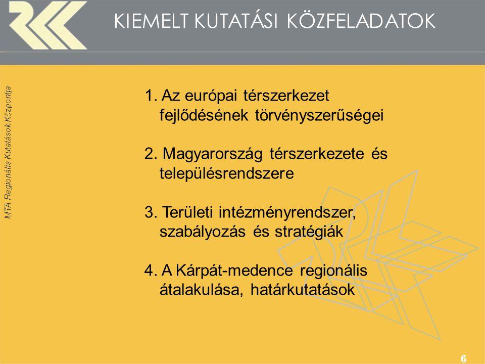 MTA Regionális Kutatások Központja 6 KIEMELT KUTATÁSI KÖZFELADATOK 1.