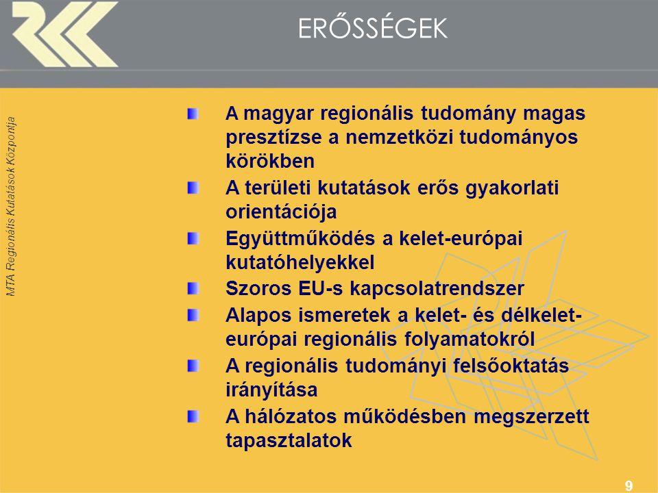 MTA Regionális Kutatások Központja 9 ERŐSSÉGEK A magyar regionális tudomány magas presztízse a nemzetközi tudományos körökben A területi kutatások erős gyakorlati orientációja Együttműködés a kelet-európai kutatóhelyekkel Szoros EU-s kapcsolatrendszer Alapos ismeretek a kelet- és délkelet- európai regionális folyamatokról A regionális tudományi felsőoktatás irányítása A hálózatos működésben megszerzett tapasztalatok