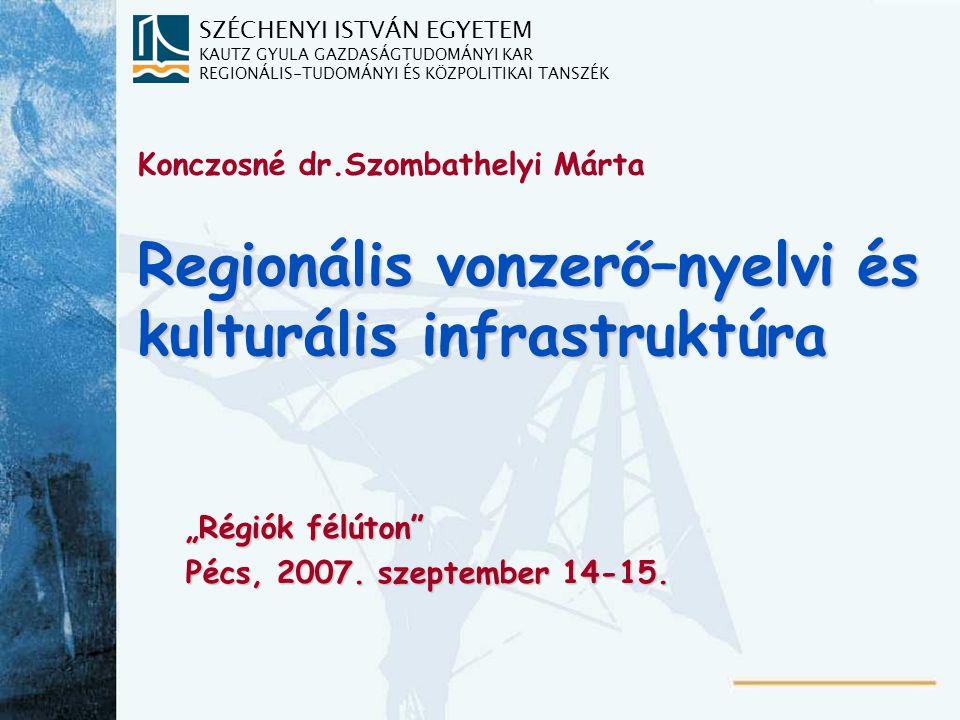 """SZÉCHENYI ISTVÁN EGYETEM KAUTZ GYULA GAZDASÁGTUDOMÁNYI KAR REGIONÁLIS-TUDOMÁNYI ÉS KÖZPOLITIKAI TANSZÉK Regionális vonzerő–nyelvi és kulturális infrastruktúra """"Régiók félúton Pécs, 2007."""