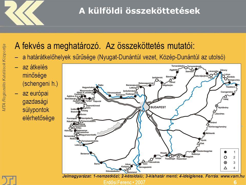 MTA Regionális Kutatások Központja Erdősi Ferenc 2007 6 A külföldi összeköttetések A fekvés a meghatározó.