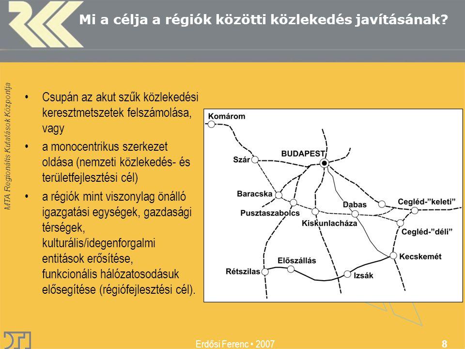 MTA Regionális Kutatások Központja Erdősi Ferenc 2007 8 Mi a célja a régiók közötti közlekedés javításának.