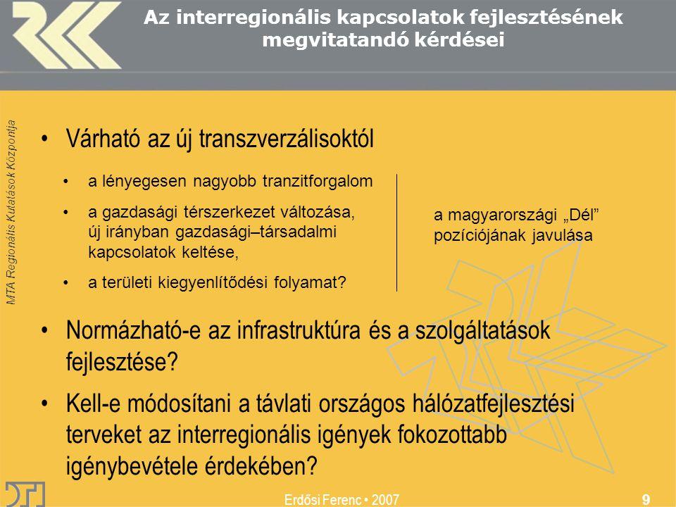 MTA Regionális Kutatások Központja Erdősi Ferenc 2007 9 Az interregionális kapcsolatok fejlesztésének megvitatandó kérdései Várható az új transzverzálisoktól a lényegesen nagyobb tranzitforgalom a gazdasági térszerkezet változása, új irányban gazdasági–társadalmi kapcsolatok keltése, a területi kiegyenlítődési folyamat.
