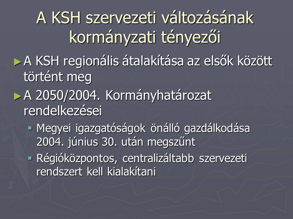 A KSH szervezeti változásának kormányzati tényezői ► A KSH regionális átalakítása az elsők között történt meg ► A 2050/2004. Kormányhatározat rendelke