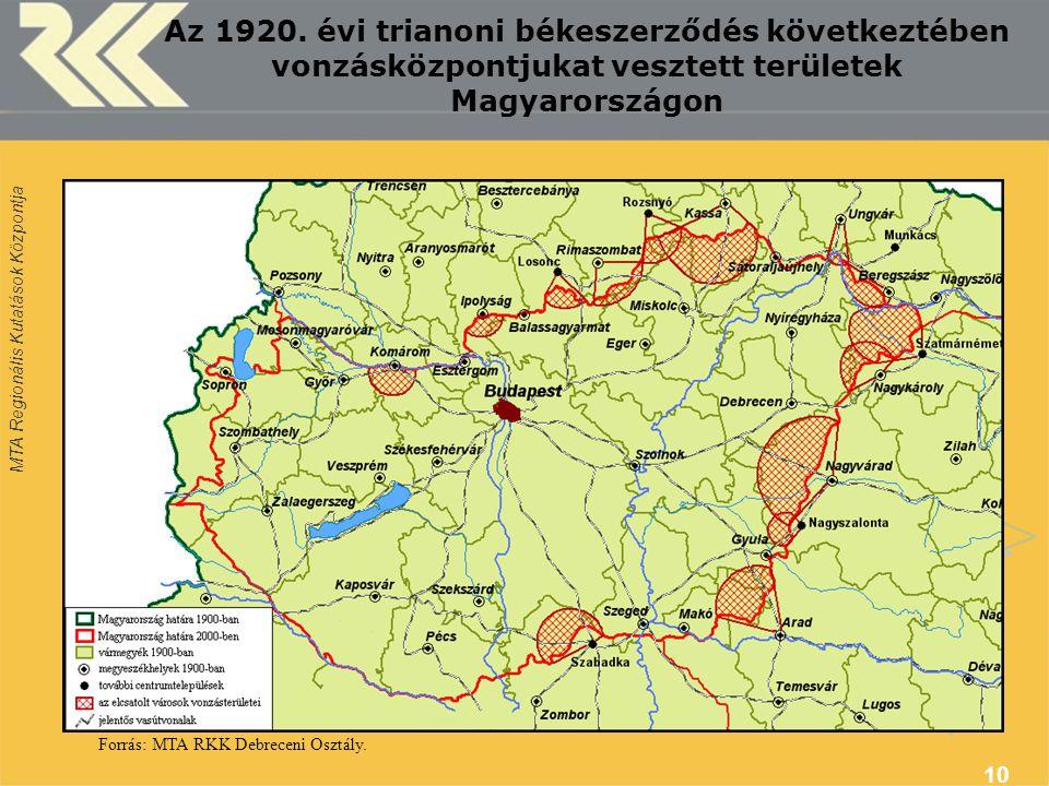MTA Regionális Kutatások Központja 10 Az 1920. évi trianoni békeszerződés következtében vonzásközpontjukat vesztett területek Magyarországon Forrás: M