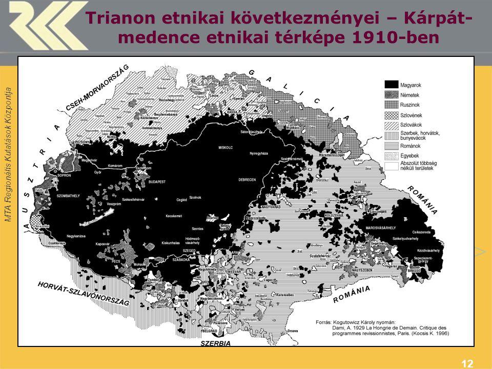MTA Regionális Kutatások Központja 12 Trianon etnikai következményei – Kárpát- medence etnikai térképe 1910-ben