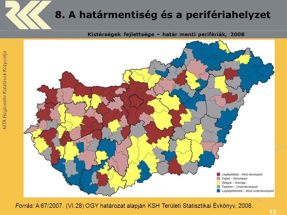 MTA Regionális Kutatások Központja 13 8. A határmentiség és a perifériahelyzet Forrás: A 67/2007. (VI.28) OGY határozat alapján KSH Területi Statiszti