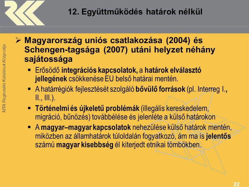 MTA Regionális Kutatások Központja 22 12. Együttműködés határok nélkül  Magyarország uniós csatlakozása (2004) és Schengen-tagsága (2007) utáni helyz