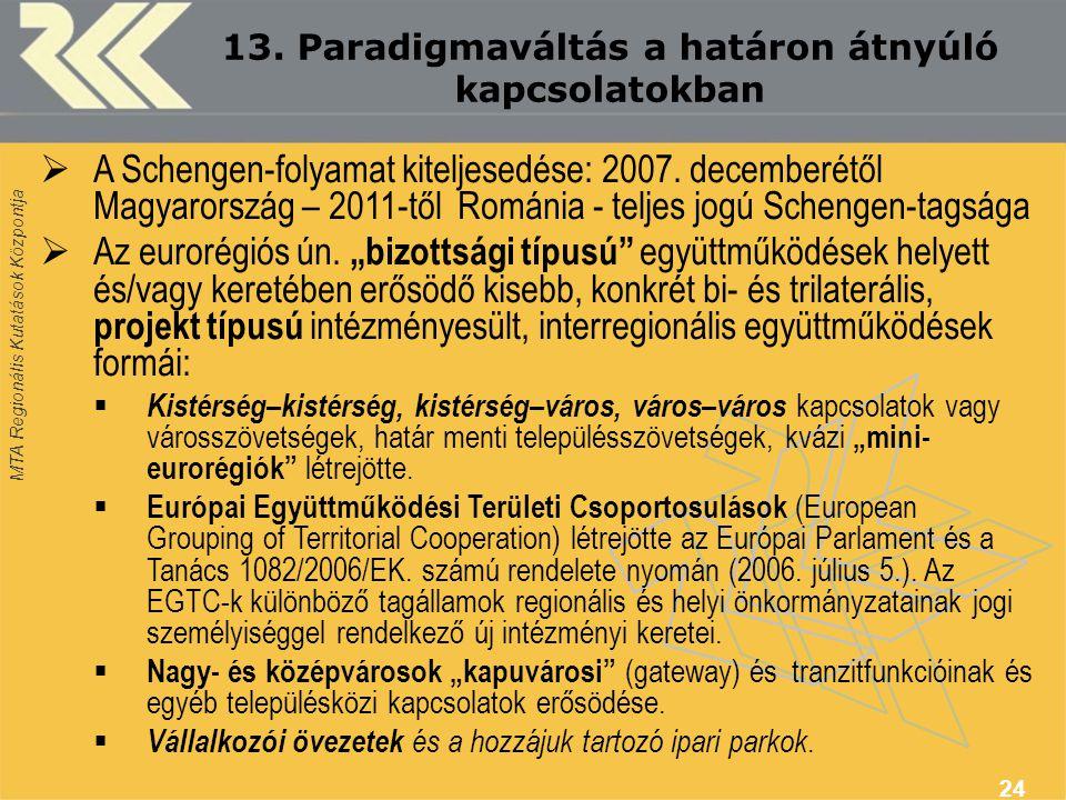 MTA Regionális Kutatások Központja 24  A Schengen-folyamat kiteljesedése: 2007.