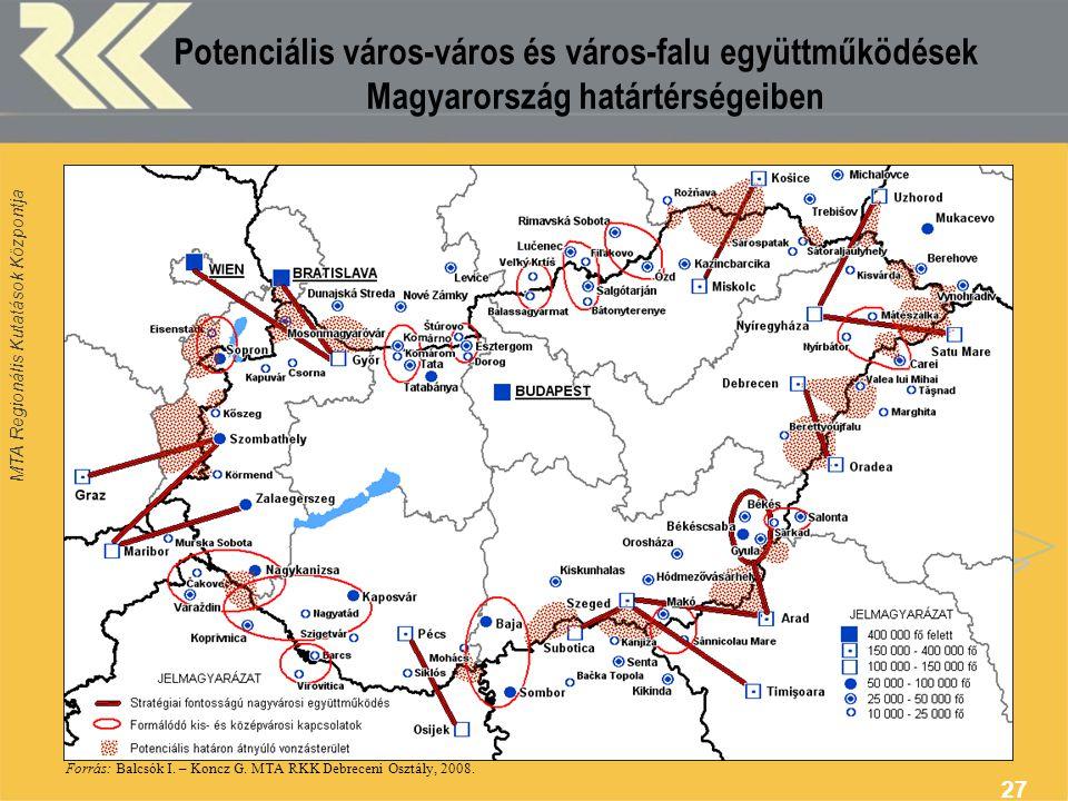 MTA Regionális Kutatások Központja 27 Potenciális város-város és város-falu együttműködések Magyarország határtérségeiben Forrás: Balcsók I. – Koncz G