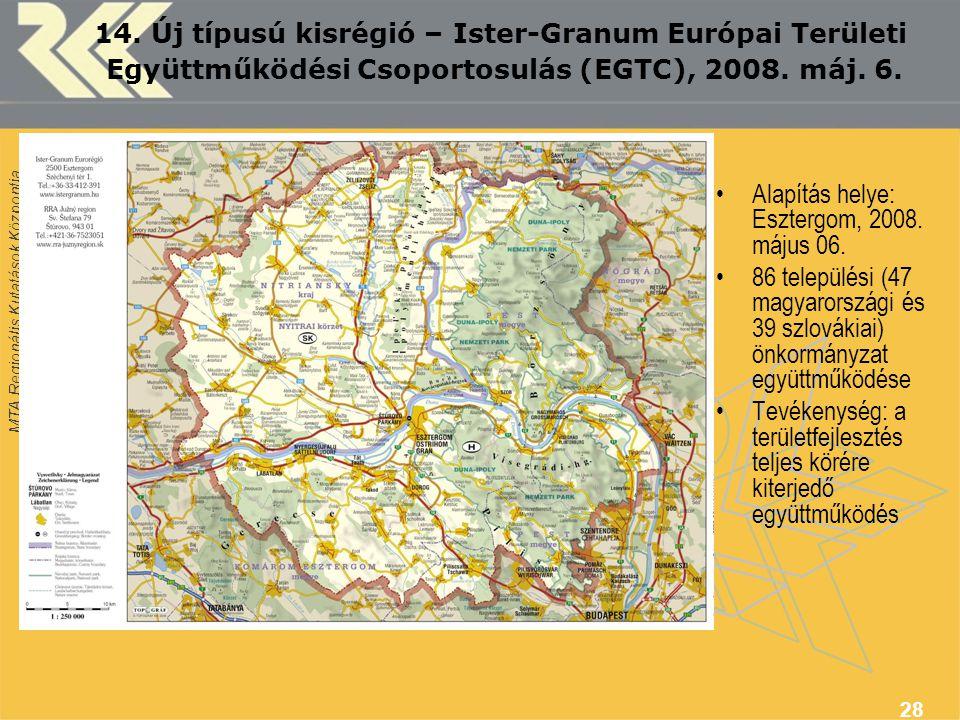 MTA Regionális Kutatások Központja 28 14. Új típusú kisrégió – Ister-Granum Európai Területi Együttműködési Csoportosulás (EGTC), 2008. máj. 6. Alapít