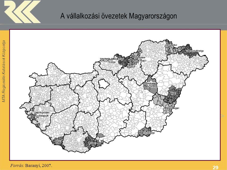 MTA Regionális Kutatások Központja 29 A vállalkozási övezetek Magyarországon Forrás: Baranyi, 2007.