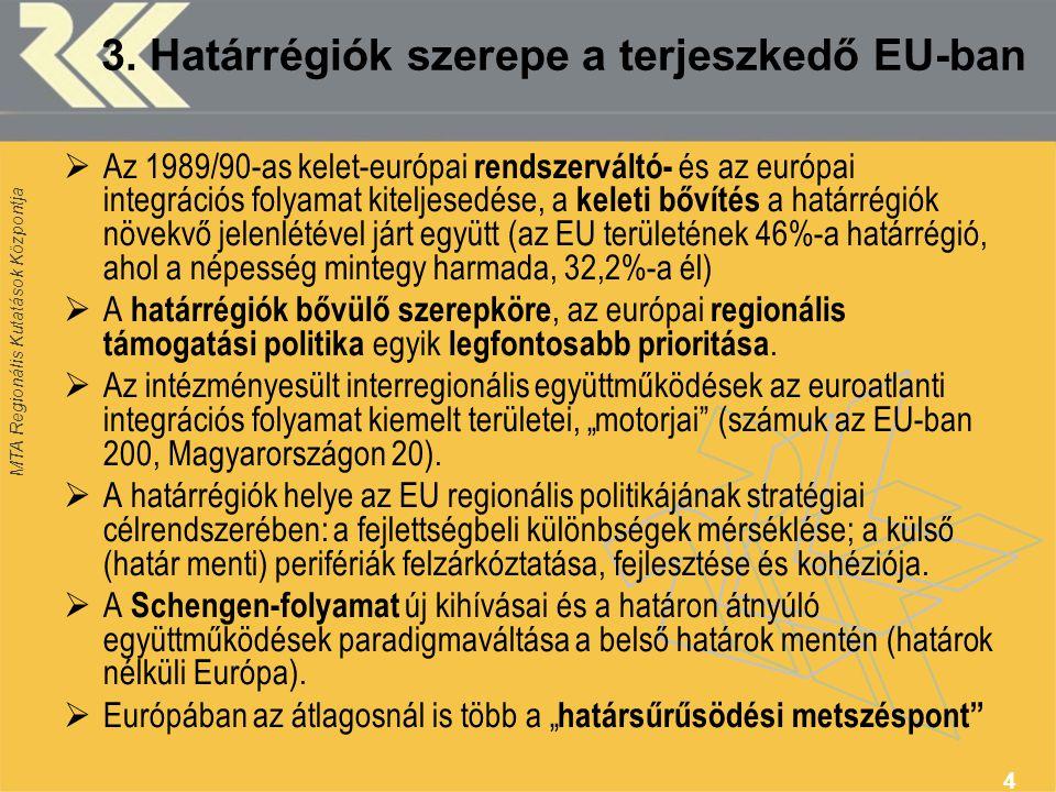 MTA Regionális Kutatások Központja 4 3. Határrégiók szerepe a terjeszkedő EU-ban  Az 1989/90-as kelet-európai rendszerváltó- és az európai integráció