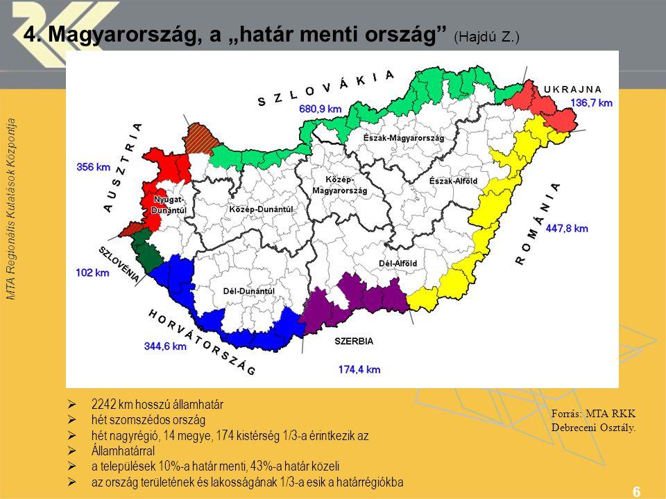"""MTA Regionális Kutatások Központja 6 4. Magyarország, a """"határ menti ország"""" (Hajdú Z.) Forrás: MTA RKK Debreceni Osztály.  2242 km hosszú államhatár"""