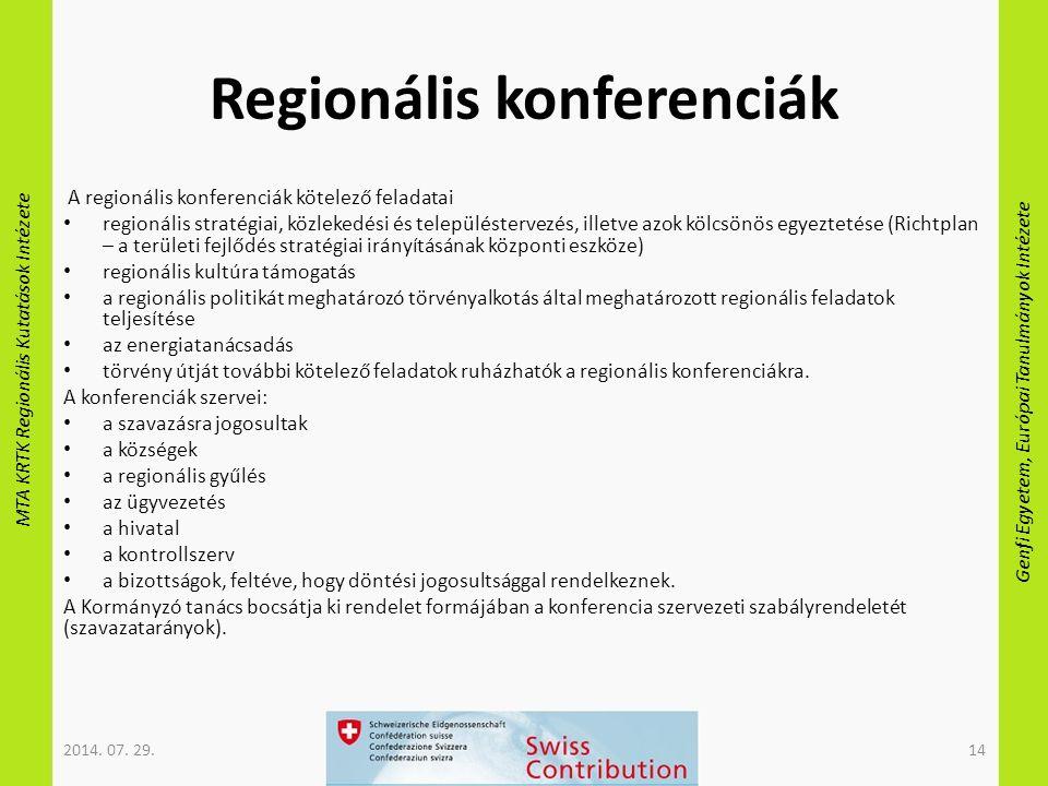 MTA KRTK Regionális Kutatások Intézete Genfi Egyetem, Európai Tanulmányok Intézete Regionális konferenciák A regionális konferenciák kötelező feladata