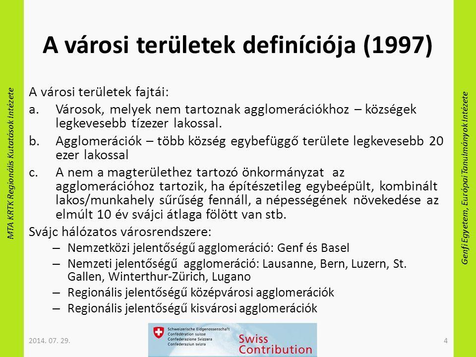 MTA KRTK Regionális Kutatások Intézete Genfi Egyetem, Európai Tanulmányok Intézete A városi területek definíciója (1997) A városi területek fajtái: a.
