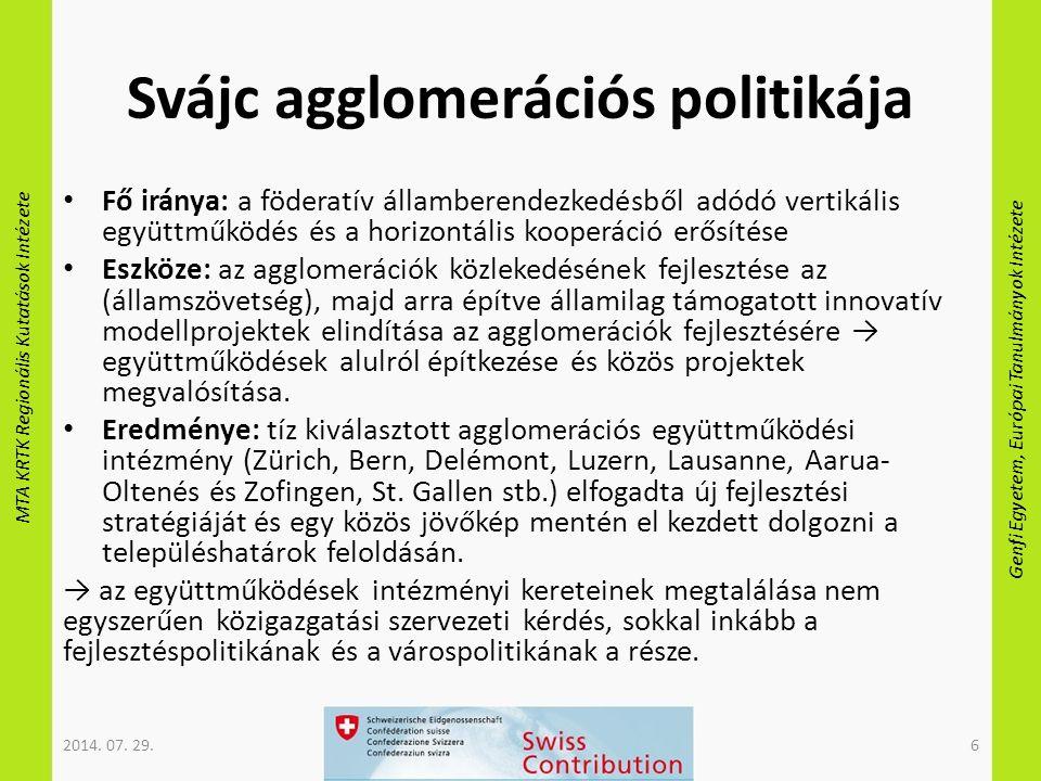 MTA KRTK Regionális Kutatások Intézete Genfi Egyetem, Európai Tanulmányok Intézete Svájc agglomerációs politikája Fő iránya: a föderatív államberendez