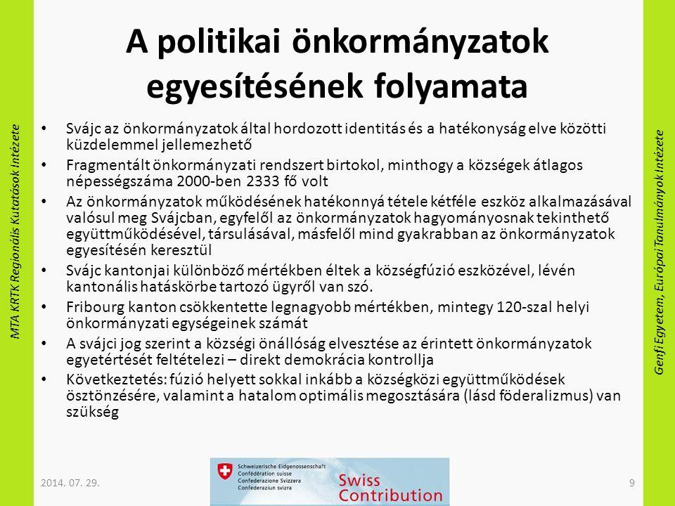 MTA KRTK Regionális Kutatások Intézete Genfi Egyetem, Európai Tanulmányok Intézete A politikai önkormányzatok egyesítésének folyamata Svájc az önkormá