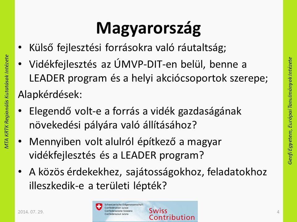 MTA KRTK Regionális Kutatások Intézete Genfi Egyetem, Európai Tanulmányok Intézete Magyarország Külső fejlesztési forrásokra való ráutaltság; Vidékfejlesztés az ÚMVP-DIT-en belül, benne a LEADER program és a helyi akciócsoportok szerepe; Alapkérdések: Elegendő volt-e a forrás a vidék gazdaságának növekedési pályára való állításához.