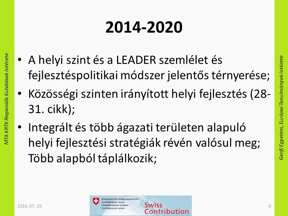 MTA KRTK Regionális Kutatások Intézete Genfi Egyetem, Európai Tanulmányok Intézete 2014-2020 A helyi szint és a LEADER szemlélet és fejlesztéspolitikai módszer jelentős térnyerése; Közösségi szinten irányított helyi fejlesztés (28- 31.