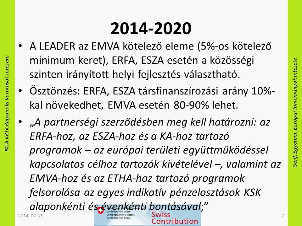 MTA KRTK Regionális Kutatások Intézete Genfi Egyetem, Európai Tanulmányok Intézete 2014-2020 A LEADER az EMVA kötelező eleme (5%-os kötelező minimum keret), ERFA, ESZA esetén a közösségi szinten irányított helyi fejlesztés választható.