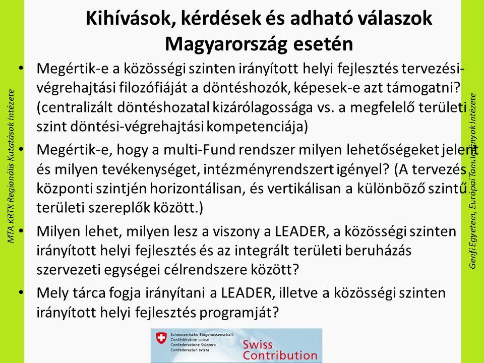 MTA KRTK Regionális Kutatások Intézete Genfi Egyetem, Európai Tanulmányok Intézete Kihívások, kérdések és adható válaszok Magyarország esetén Megértik-e a közösségi szinten irányított helyi fejlesztés tervezési- végrehajtási filozófiáját a döntéshozók, képesek-e azt támogatni.