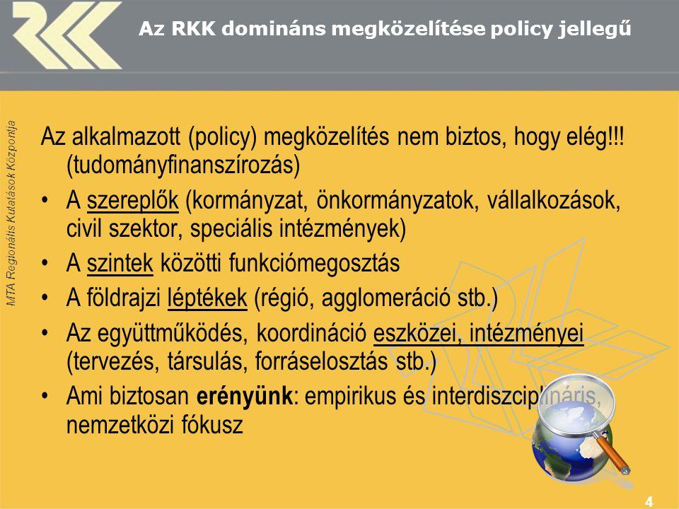 MTA Regionális Kutatások Központja 4 Az RKK domináns megközelítése policy jellegű Az alkalmazott (policy) megközelítés nem biztos, hogy elég!!.