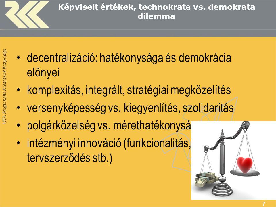 MTA Regionális Kutatások Központja 7 Képviselt értékek, technokrata vs.