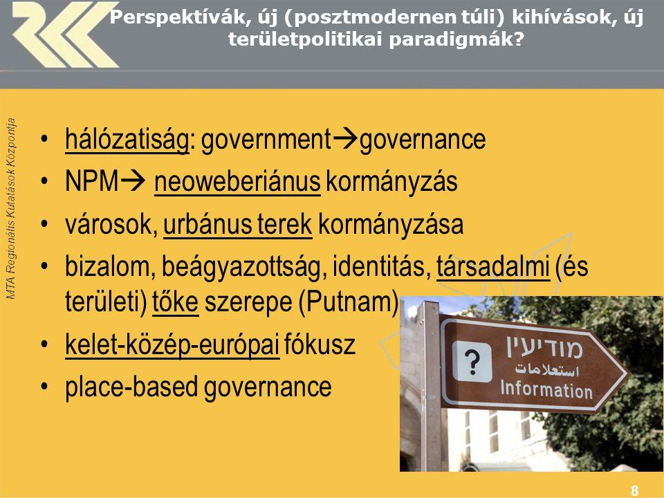 MTA Regionális Kutatások Központja 8 Perspektívák, új (posztmodernen túli) kihívások, új területpolitikai paradigmák.