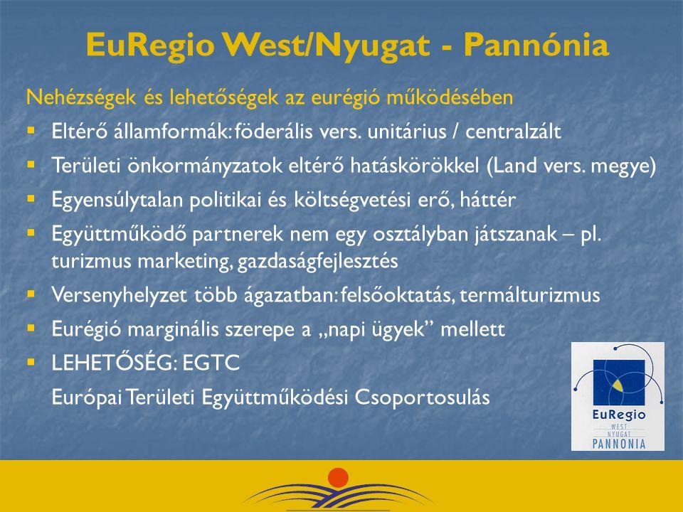 Nehézségek és lehetőségek az eurégió működésében  Eltérő államformák: föderális vers.