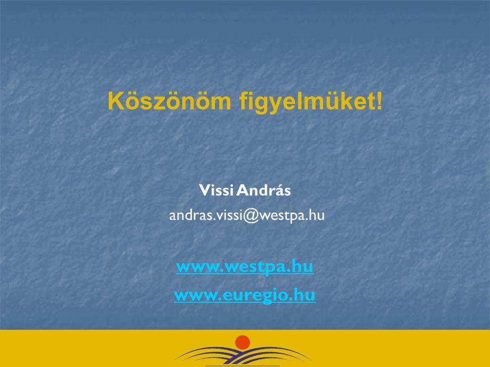 Köszönöm figyelmüket! Vissi András andras.vissi@westpa.hu www.westpa.hu www.euregio.hu