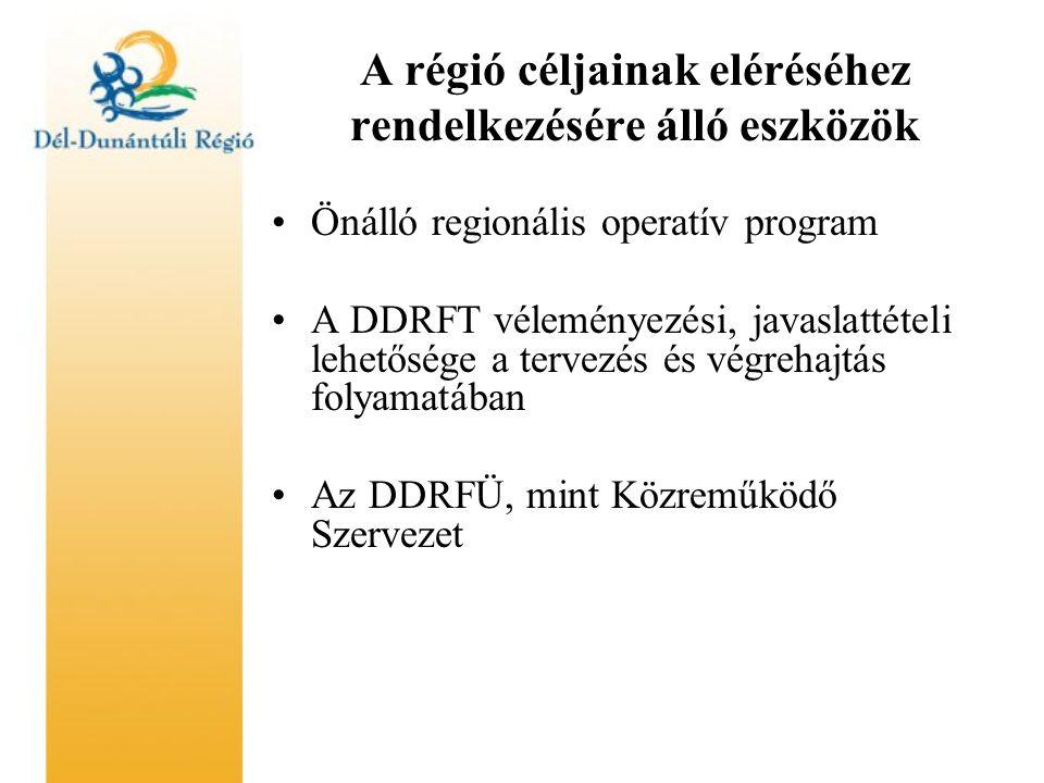 A régió céljainak eléréséhez rendelkezésére álló eszközök Önálló regionális operatív program A DDRFT véleményezési, javaslattételi lehetősége a tervezés és végrehajtás folyamatában Az DDRFÜ, mint Közreműködő Szervezet