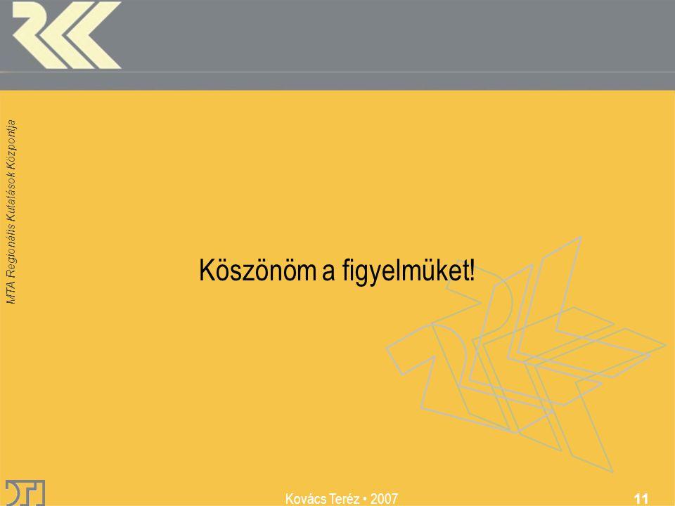 MTA Regionális Kutatások Központja Kovács Teréz 2007 11 Köszönöm a figyelmüket!