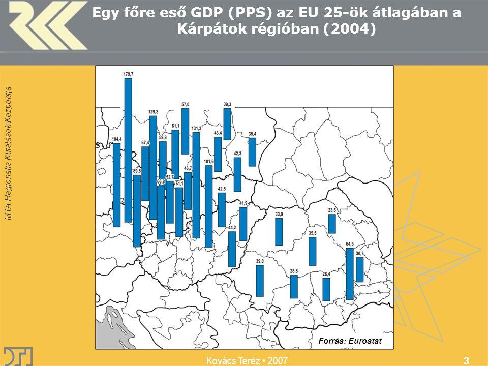 MTA Regionális Kutatások Központja Kovács Teréz 2007 3 Egy főre eső GDP (PPS) az EU 25-ök átlagában a Kárpátok régióban (2004) Forrás: Eurostat