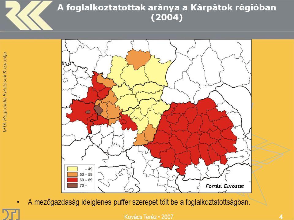 MTA Regionális Kutatások Központja Kovács Teréz 2007 4 A foglalkoztatottak aránya a Kárpátok régióban (2004) A mezőgazdaság ideiglenes puffer szerepet tölt be a foglalkoztatottságban.