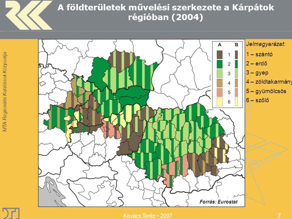 MTA Regionális Kutatások Központja Kovács Teréz 2007 7 A földterületek művelési szerkezete a Kárpátok régióban (2004) Jelmagyarázat: 1 – szántó 2 – erdő 3 – gyep 4 – zöldtakarmány 5 – gyümölcsös 6 – szőlő Forrás: Eurostat