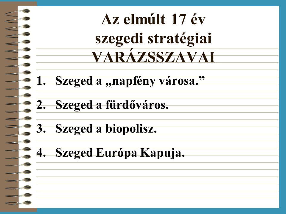 """Az elmúlt 17 év szegedi stratégiai VARÁZSSZAVAI 1.Szeged a """"napfény városa. 2.Szeged a fürdőváros."""