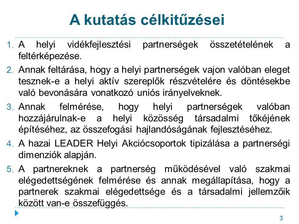 A kutatás célkitűzései 3 1. A helyi vidékfejlesztési partnerségek összetételének a feltérképezése. 2. Annak feltárása, hogy a helyi partnerségek vajon