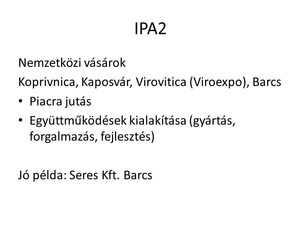 IPA2 Nemzetközi vásárok Koprivnica, Kaposvár, Virovitica (Viroexpo), Barcs Piacra jutás Együttműködések kialakítása (gyártás, forgalmazás, fejlesztés)