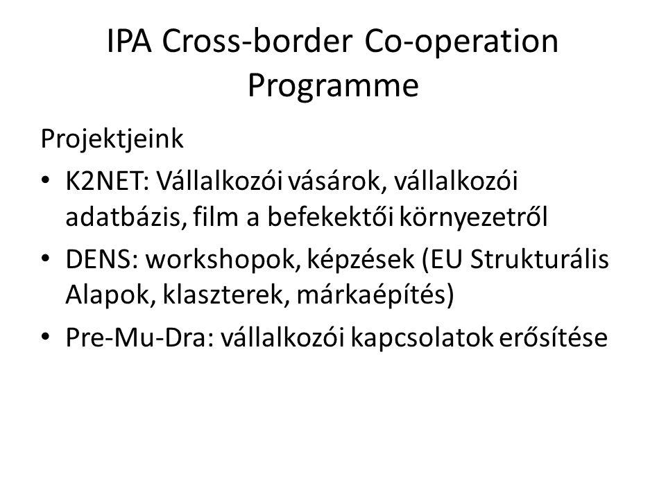 IPA Cross-border Co-operation Programme Projektjeink K2NET: Vállalkozói vásárok, vállalkozói adatbázis, film a befekektői környezetről DENS: workshopo