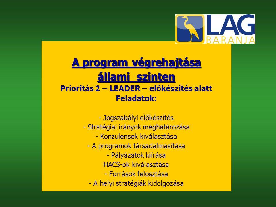 A program végrehajtása állami szinten Prioritás 2 – LEADER – előkészítés alatt Feladatok: - Jogszabályi előkészítés - Stratégiai irányok meghatározása - Konzulensek kiválasztása - A programok társadalmasítása - Pályázatok kiírása HACS-ok kiválasztása - Források felosztása - A helyi stratégiák kidolgozása