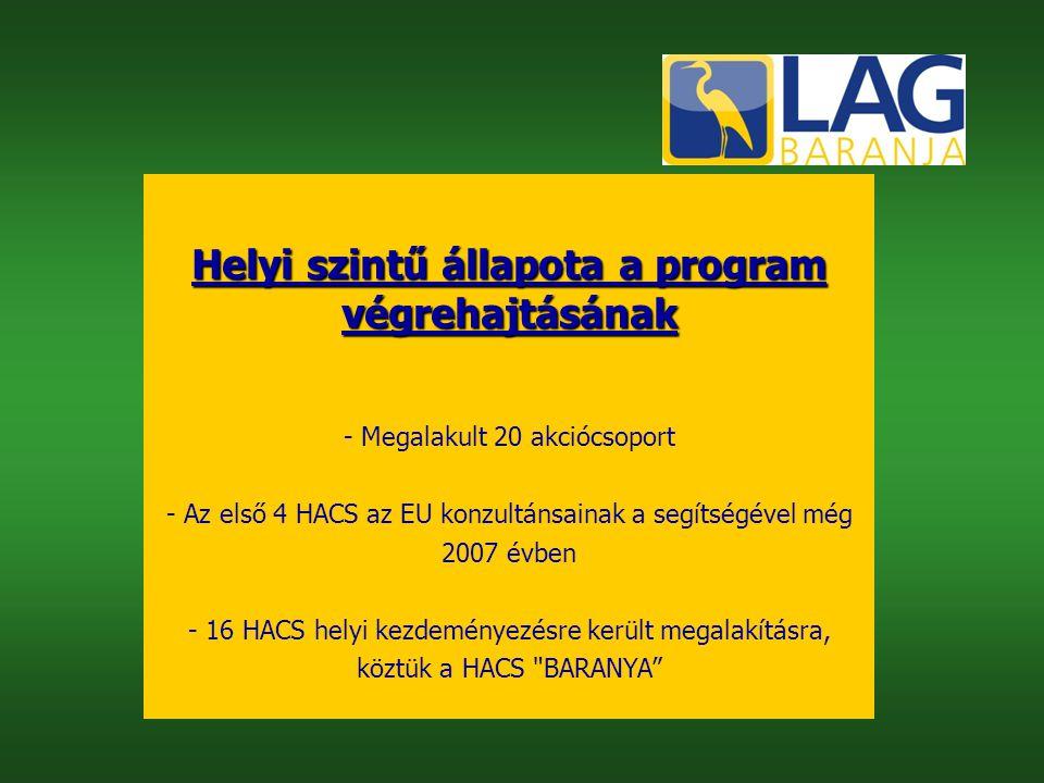 Helyi szintű állapota a program végrehajtásának - Megalakult 20 akciócsoport - Az első 4 HACS az EU konzultánsainak a segítségével még 2007 évben - 16 HACS helyi kezdeményezésre került megalakításra, köztük a HACS BARANYA