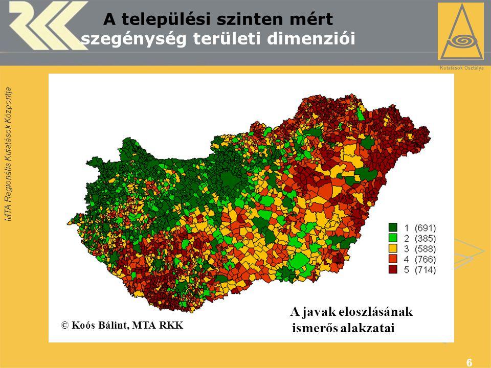 MTA Regionális Kutatások Központja 6 A települési szinten mért szegénység területi dimenziói © Koós Bálint, MTA RKK A javak eloszlásának ismerős alakzatai Térségfejlesztési Kutatások Osztálya