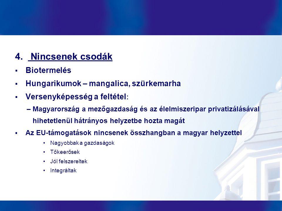 4. Nincsenek csodák  Biotermelés  Hungarikumok – mangalica, szürkemarha  Versenyképesség a feltétel : – Magyarország a mezőgazdaság és az élelmisze