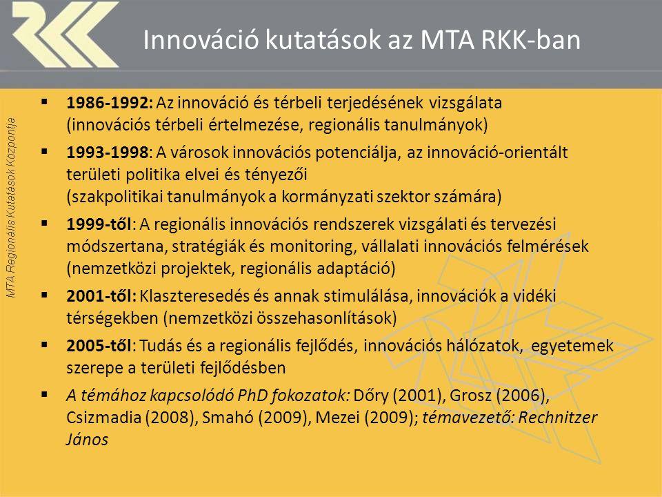 Innováció kutatások az MTA RKK-ban  1986-1992: Az innováció és térbeli terjedésének vizsgálata (innovációs térbeli értelmezése, regionális tanulmányo