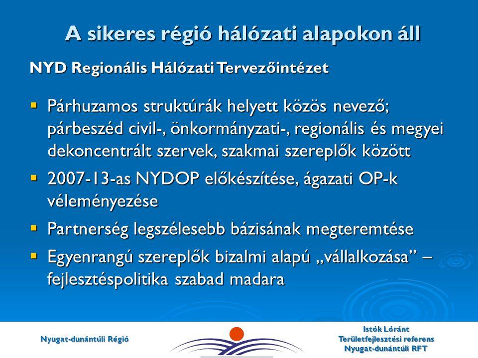 """Nyugat-dunántúli Régió Istók Lóránt Területfejlesztési referens Nyugat-dunántúli RFT NYD Regionális Hálózati Tervezőintézet  Párhuzamos struktúrák helyett közös nevező; párbeszéd civil-, önkormányzati-, regionális és megyei dekoncentrált szervek, szakmai szereplők között  2007-13-as NYDOP előkészítése, ágazati OP-k véleményezése  Partnerség legszélesebb bázisának megteremtése  Egyenrangú szereplők bizalmi alapú """"vállalkozása – fejlesztéspolitika szabad madara A sikeres régió hálózati alapokon áll"""